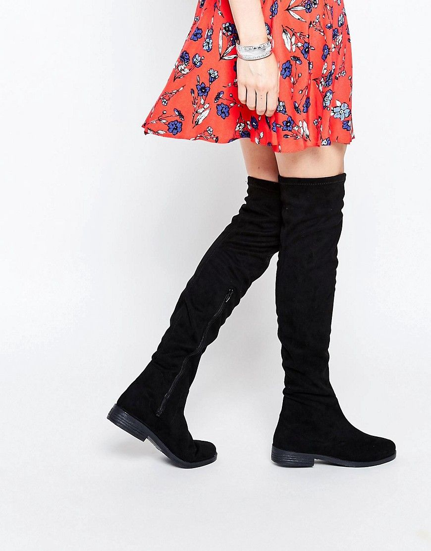 ASOS KEEPER Flat Over The Knee Boots at asos.com. Flat BootsShoe  BootsWomen's ShoesBlack ...