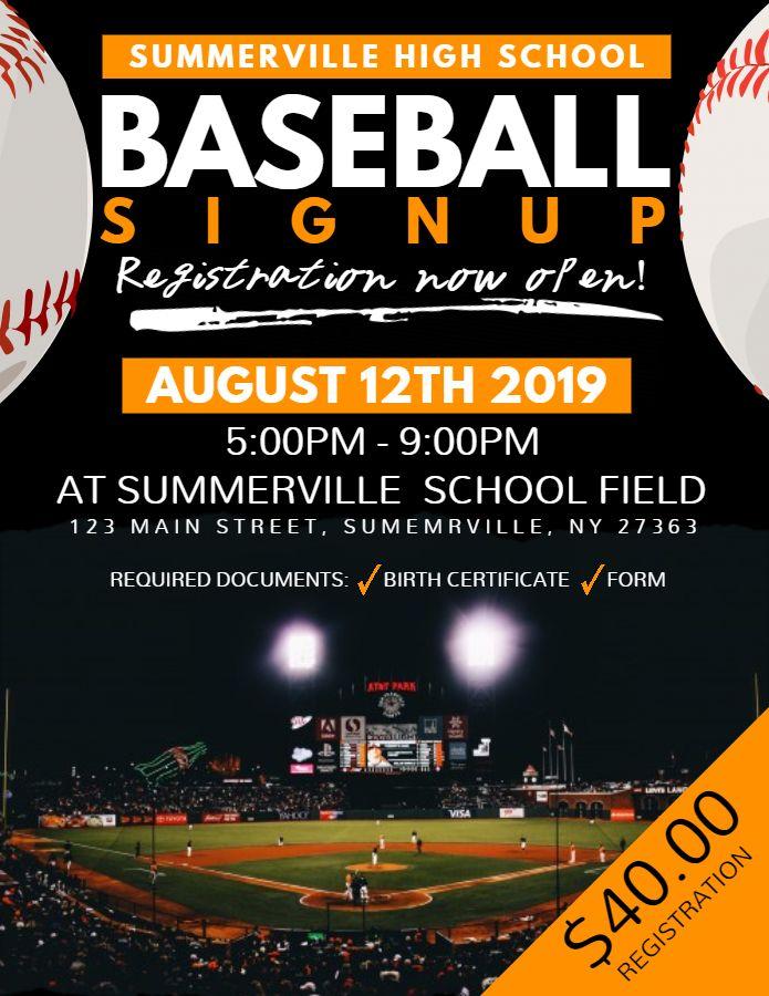 Baseball camp flyer template - Social media post Baseball Poster