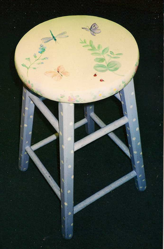Butterfly Bar Stool Hand Painted Bar Stools Kids Bar Stools By