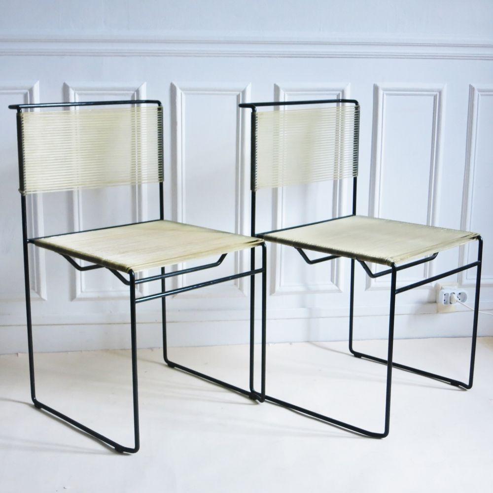 Spaghetti Chair Giandomenico Belotti.Pair Of Spaghetti Dinner Chairs By Giandomenico Belotti For