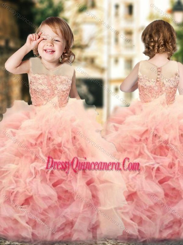 7ce71e3f196 Wonderful Ruffled and Laced Mini Quinceanera Dress with See Through Scoop