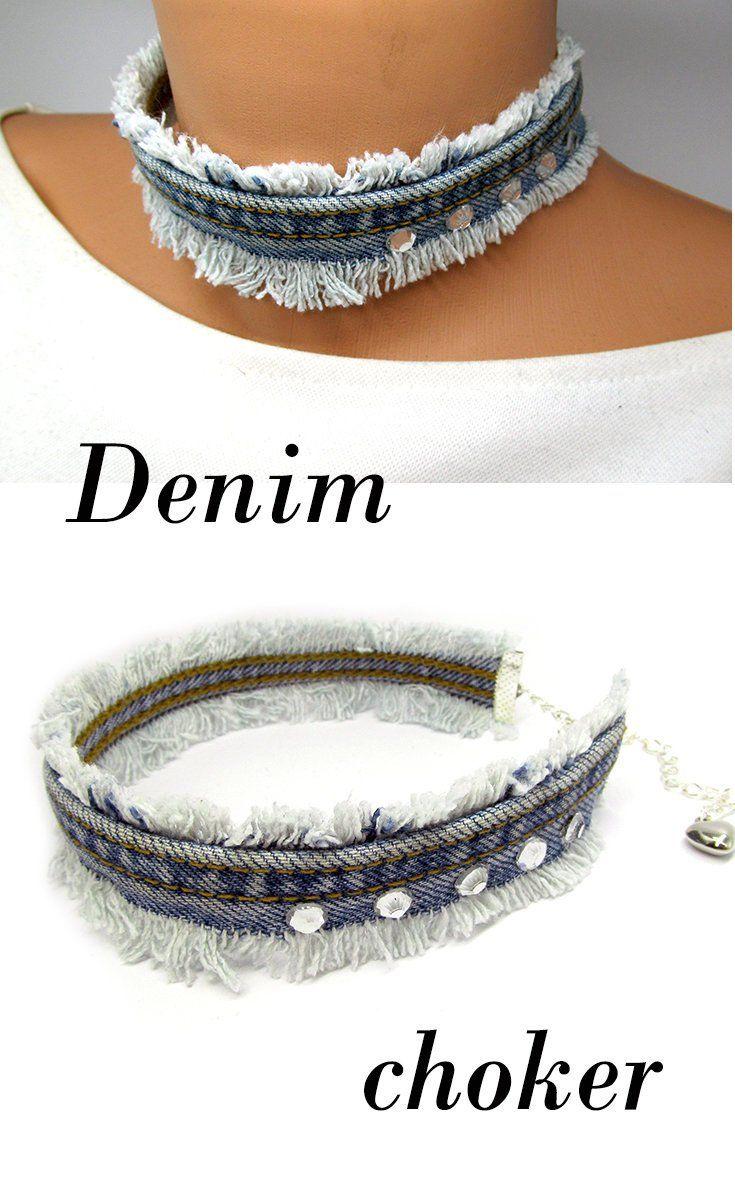 Denim choker Denim colier Denim jewelry Jeans Denim colier Denim choker jeans Denim accessories blue Denim bold chunky jewelry denim neck