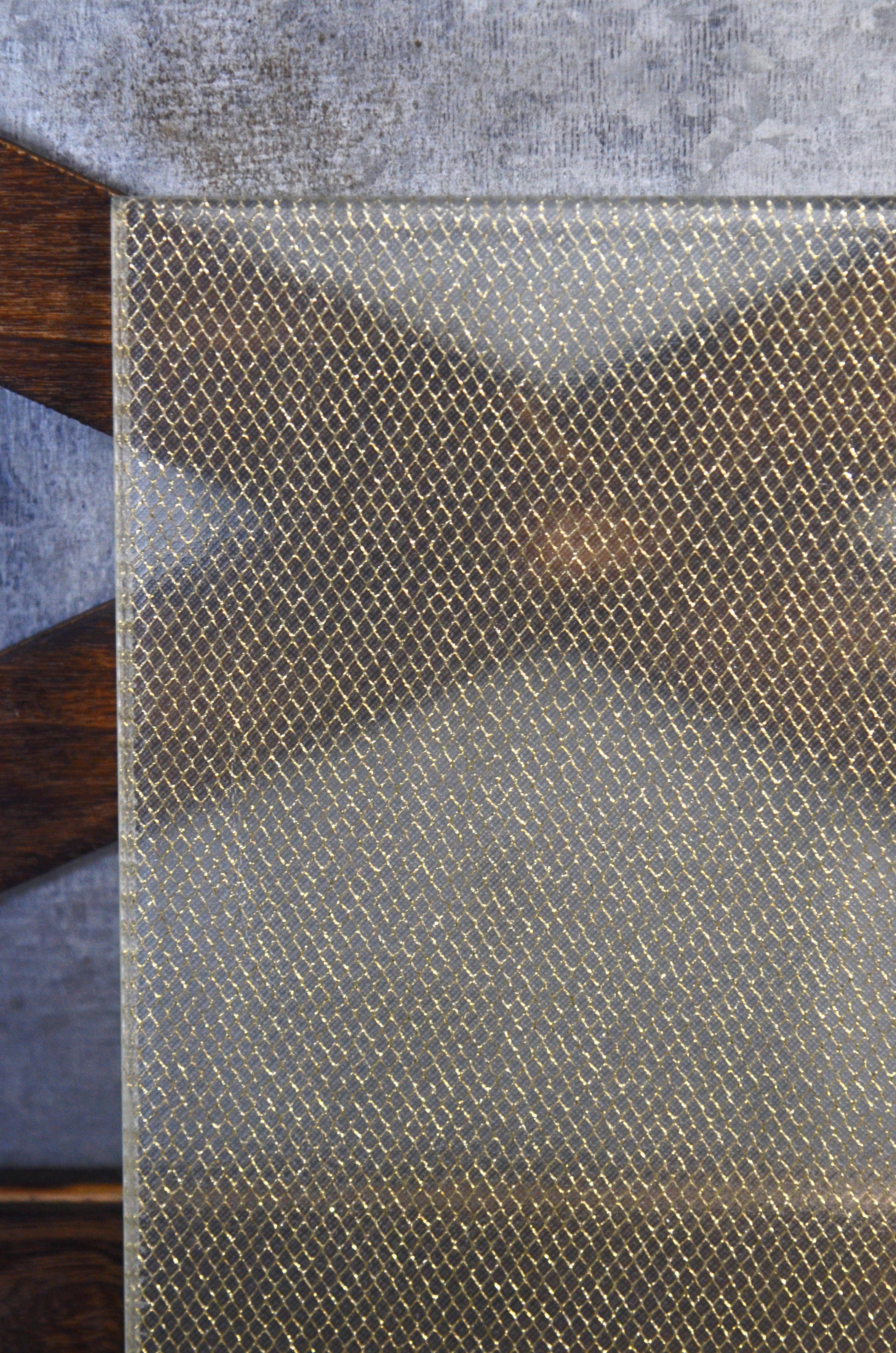 Gold Diamond Sparkle Metallic Mesh Organica Laminated Glass Fabric Laminated Glass Glass Texture Glass Material