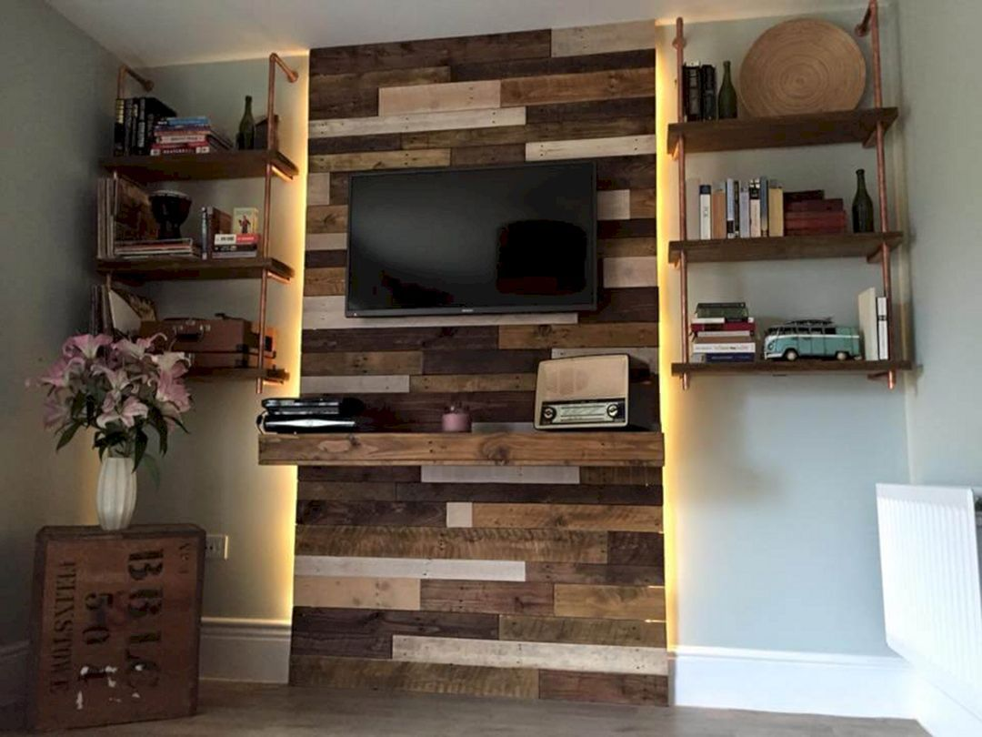 12 Gorgeous Living Room Wall Decoration You Can Try With Images Pallet Entertainment Centers Living Room Entertainment Living Room Entertainment Center