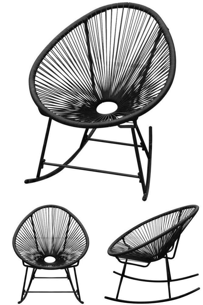 Miraculous Black Modern Rocking Chair Indoor Outdoor Patio Hotel Spa Ibusinesslaw Wood Chair Design Ideas Ibusinesslaworg