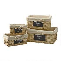 Natural Rectangular Lined Chalkboard Baskets