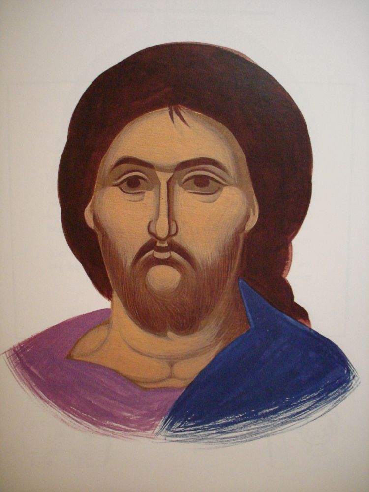 Face of Christ. Style of Panselinos. Version 2. Stage 2.