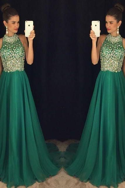 Prom Dress, Kelly Green Haltered Top Beaded Full Back Discount Long ...