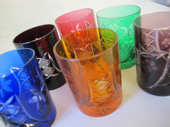 Vintage Lausitzer Grape Floral Pattern Crystal German Cut to Clear Glass Multicolored Whiskey Tumbler Glasses Set of 6