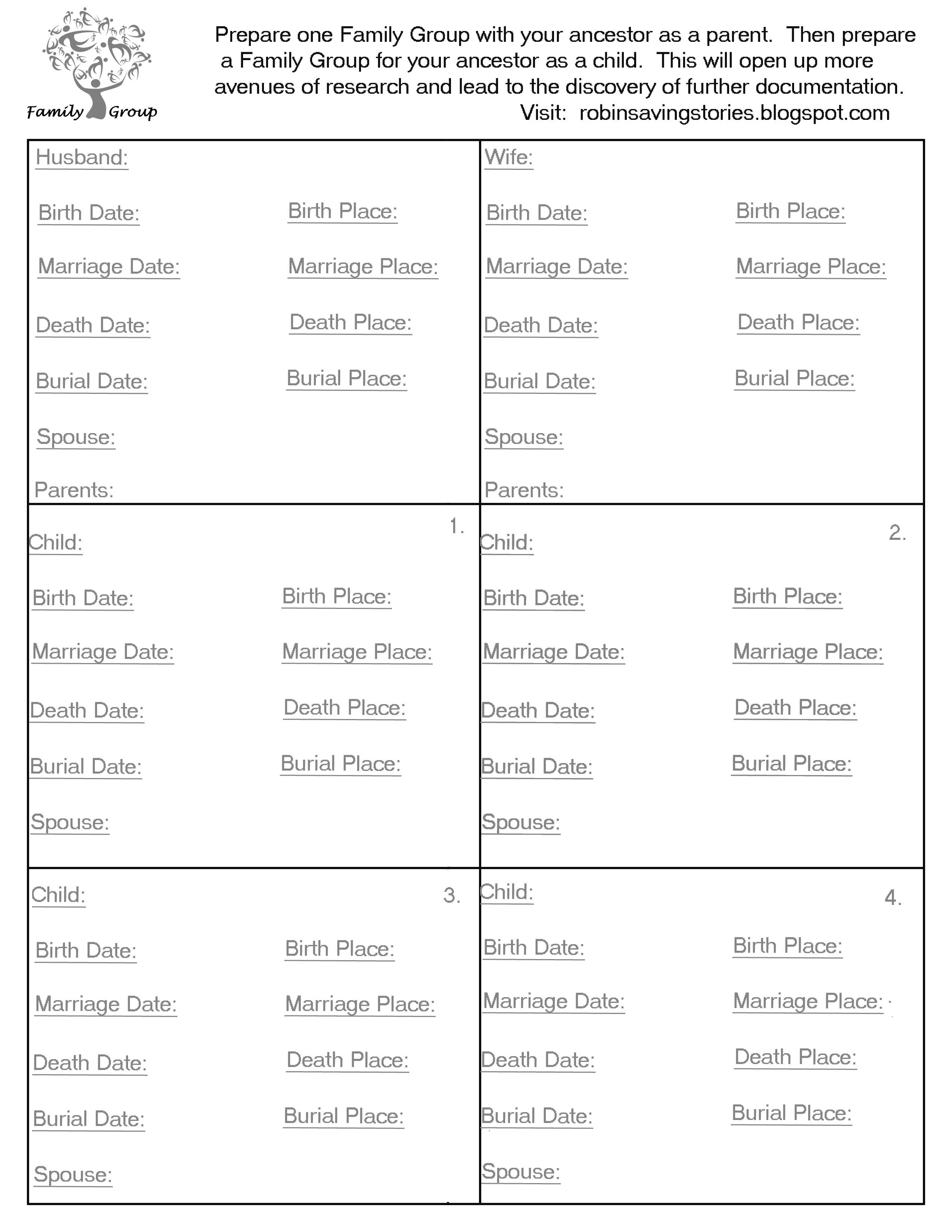 Free Family Group Sheet Prepare One With You Ancestor