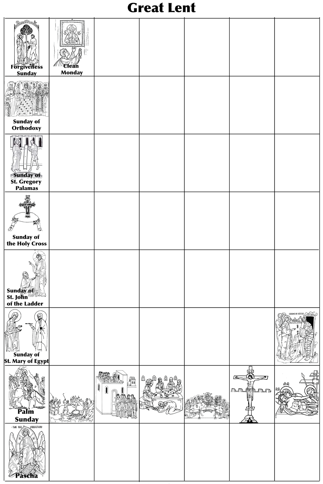 Orthodox Lenten Calendar Printable