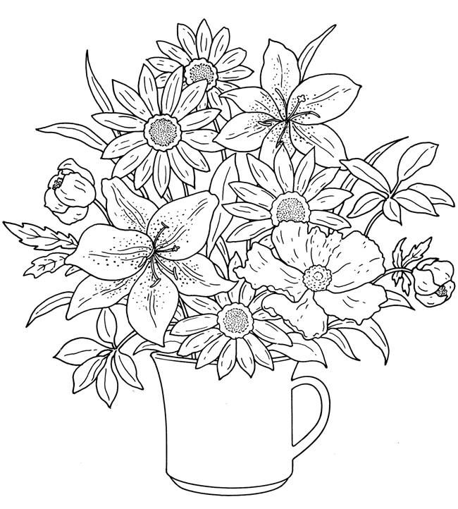 Cup Of Flowers Adult Coloring Page Free Printable Flower