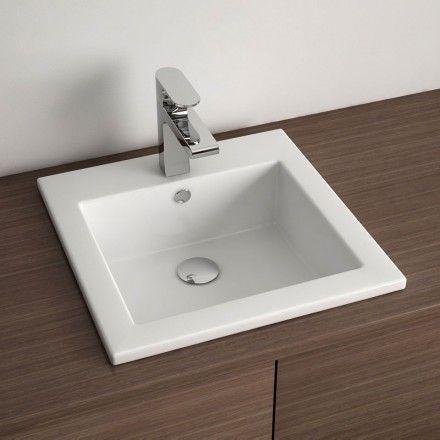 Vasque à encastrer par dessus carrée 42,5x42,5 cm, céramique, Amiri - peinture pour evier ceramique