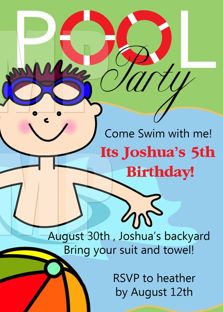 Free Printable Birthday Pool Party Invitations Templates | Niko ...