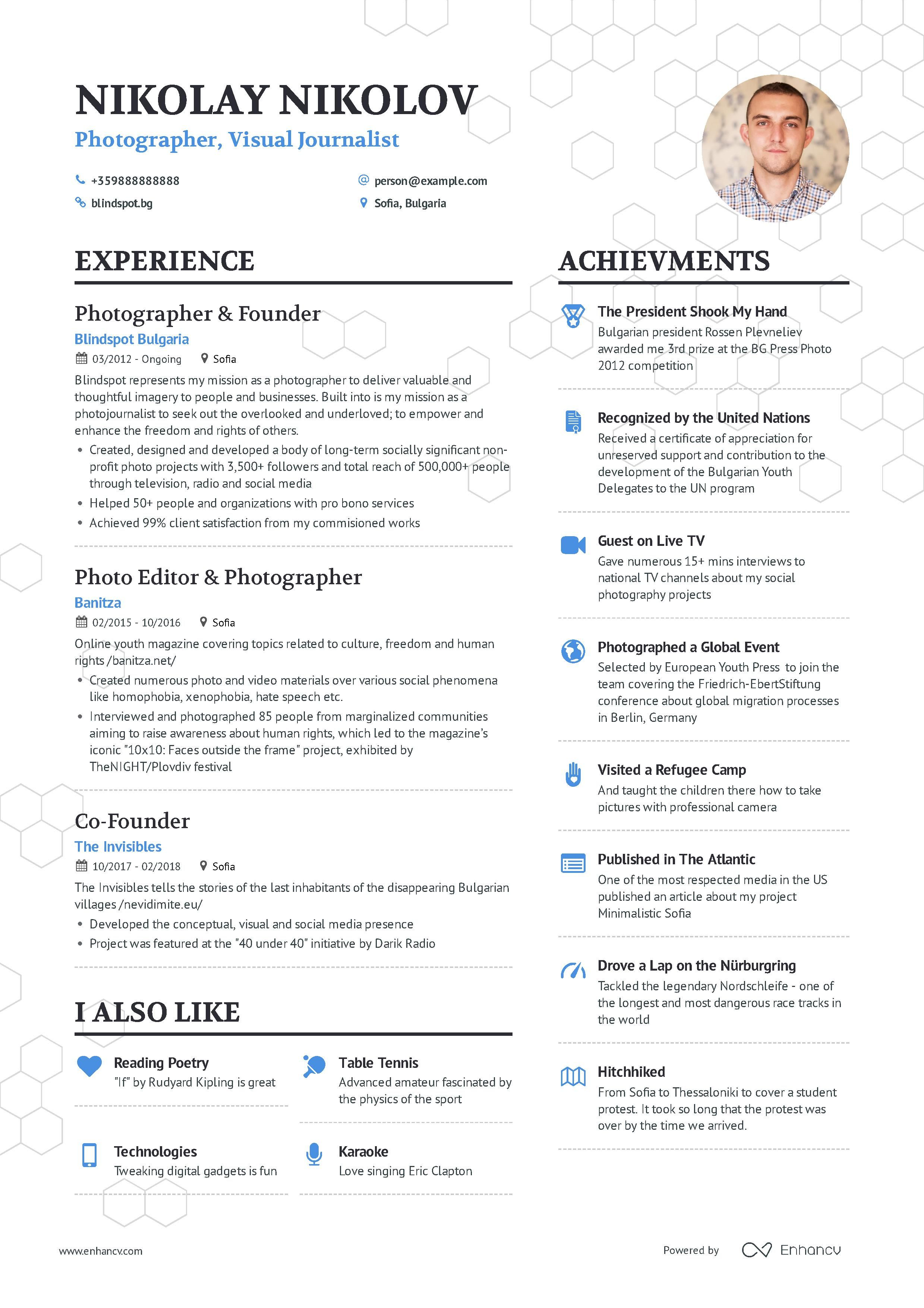 Photographer Resume Example And Guide For 2019 Good Resume Examples Resume Examples Photographer Resume