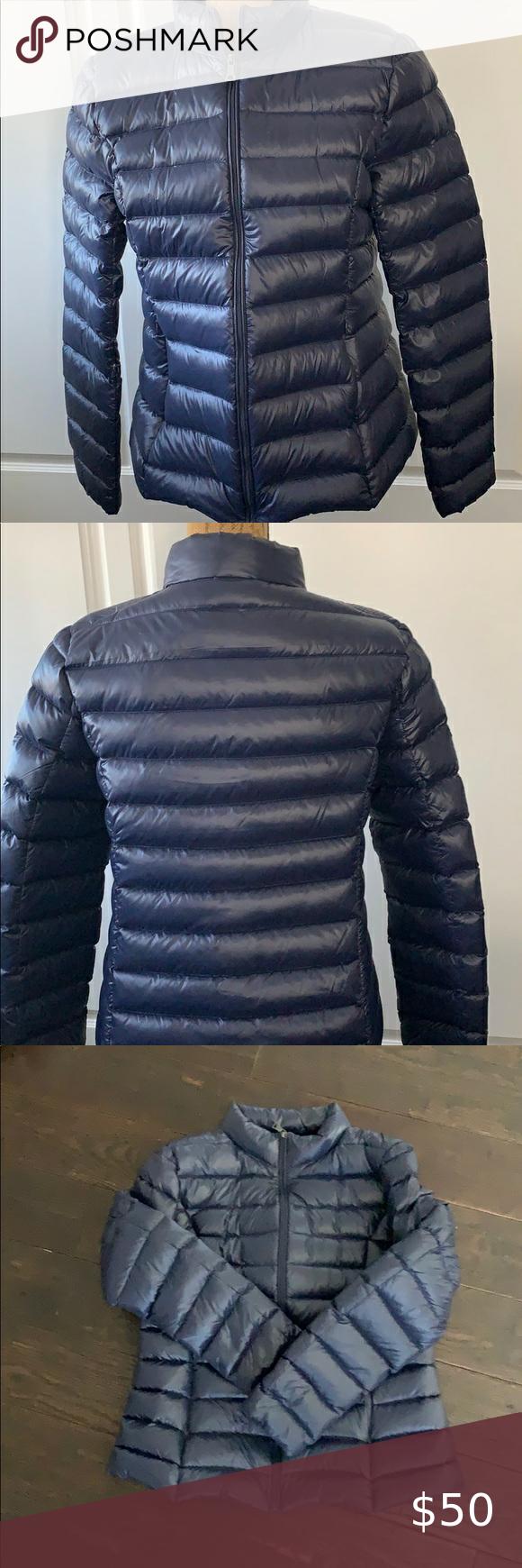 Aqua Navy Blue Thin Puffer Jacket Clothes Design Lightweight Coats Fashion Design [ 1740 x 580 Pixel ]