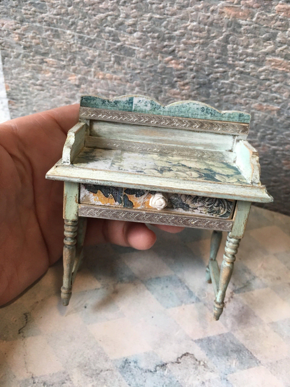 1:12 Mini Dollhouse Furniture Miniature Wooden Tea Table Mini Dollhouse Desk