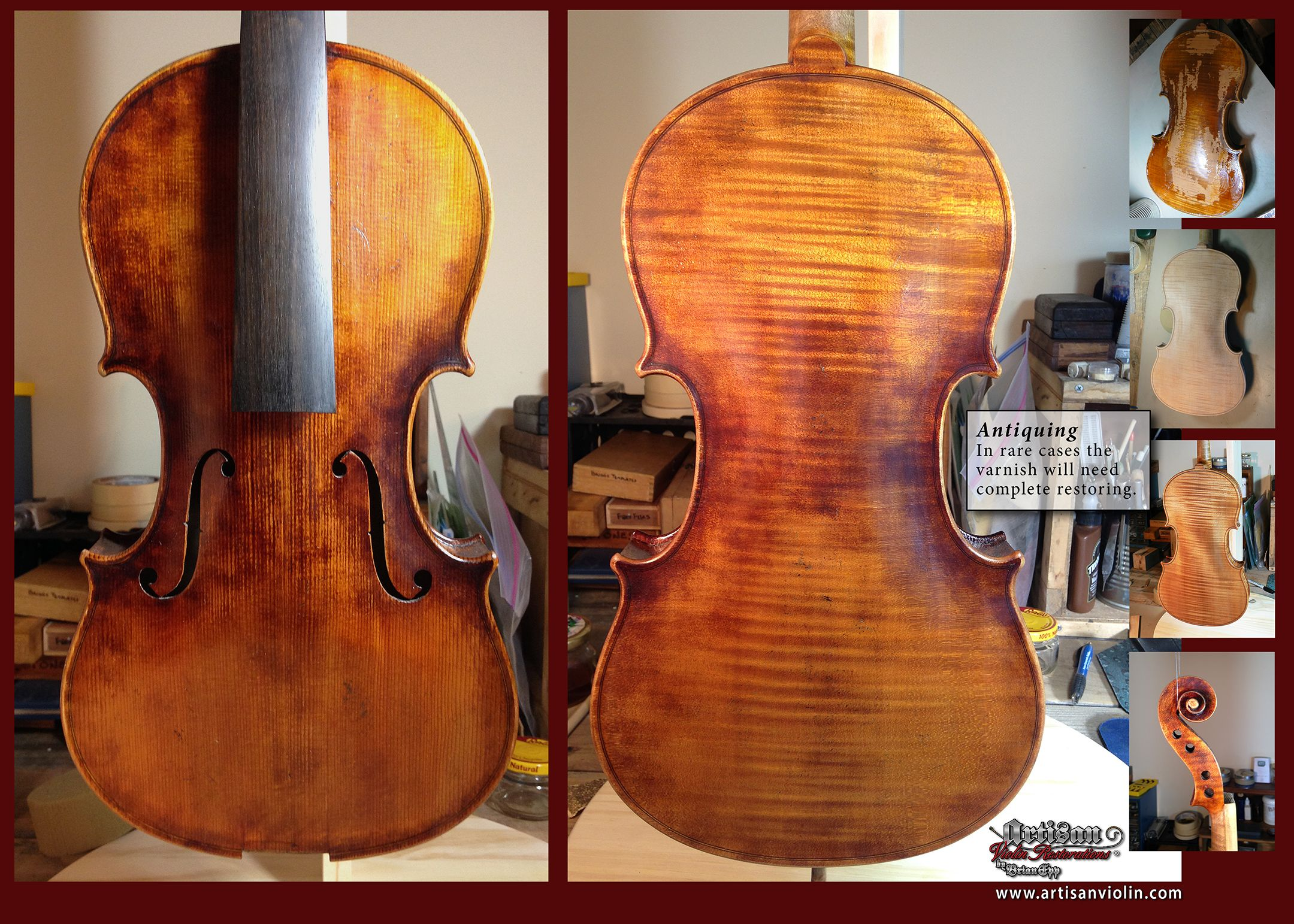Old wood minerale interior of violin - I Never Recommend Total Refinishing Unless In This Case Where The Ground Layer Was So
