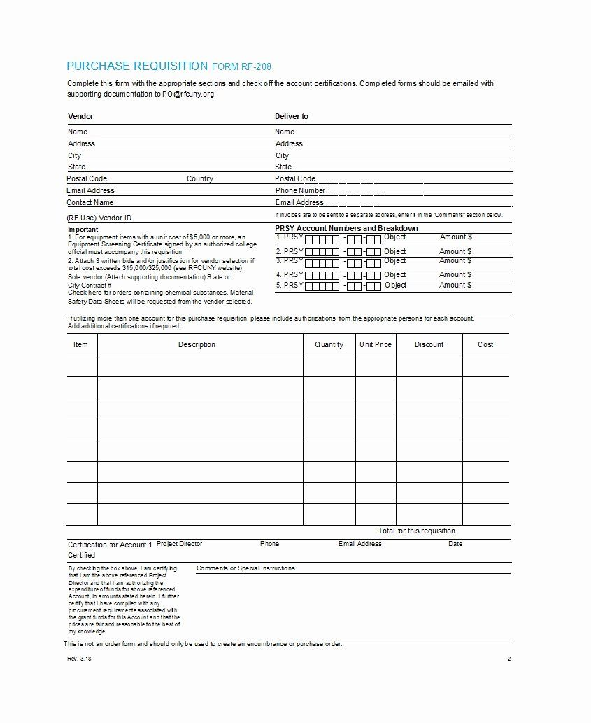 10 Purchase Requisition Form Templates Excel Templates