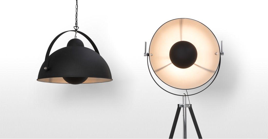 Chicago Tripod-Stehlampe, Schwarz und Silber Floor lamp, White