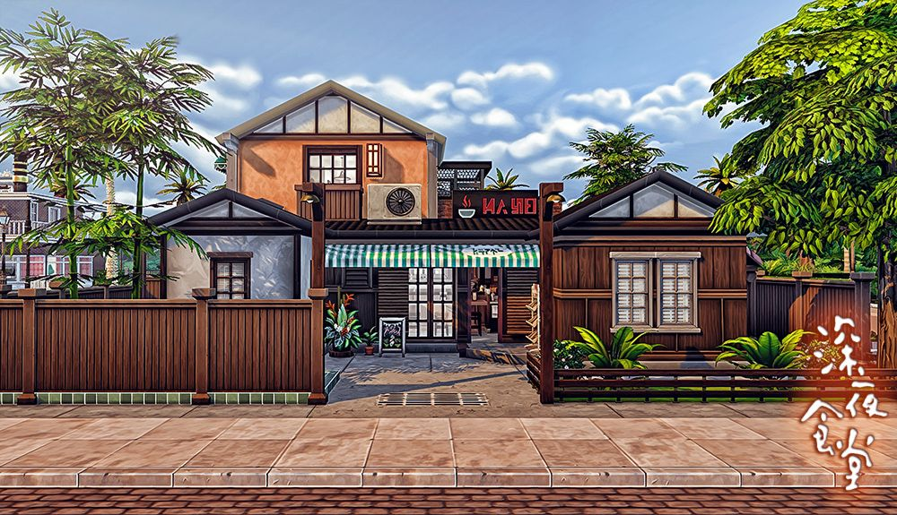 Lana cc finds simsmissdd a restaurant in japanese style for Modern house sushi 9 deler sett