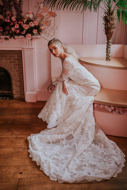 Wedding Dresses Hippie Bride Bridal Dress Gown Lace Fit Flare Lace Sleeves Mod Lace Wedding Dress Vintage Wedding Dress Vintage Sleeves Country Wedding Dresses [ 1495 x 1000 Pixel ]