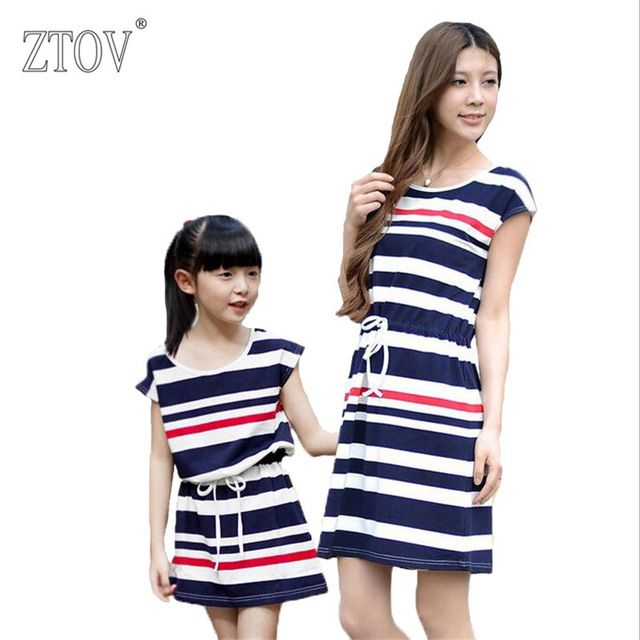6e0217127b ZTOV Summer Mother Daughter Dresses Family Matching Clothes Outfits Cotton  Navy Stripes Mom Dress Family Look girls Clothing