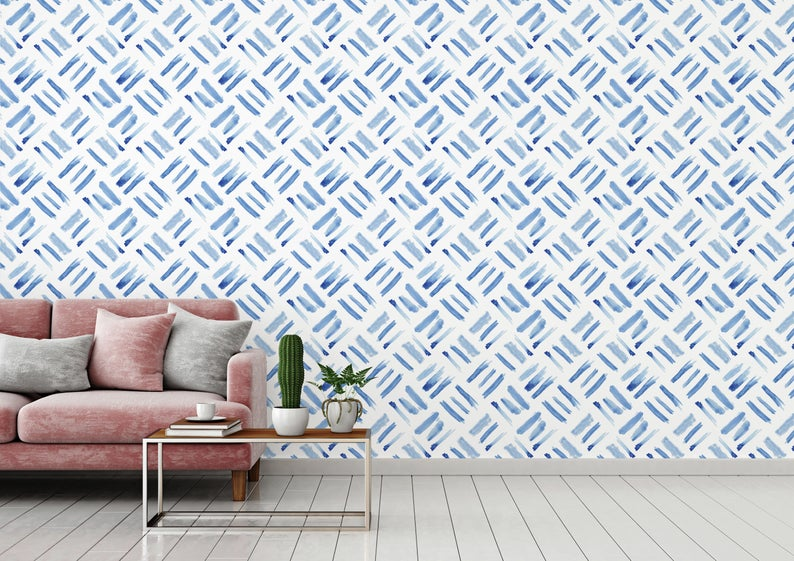 Watercolor Squares Removable Wallpaper Brush Strokes Etsy Removable Wallpaper Peel And Stick Wallpaper Wallpaper