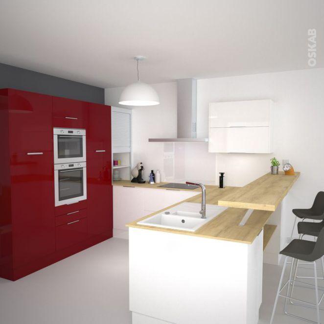 Idée relooking cuisine Cuisine rouge et blanc ouverte en U avec - idee bar cuisine ouverte