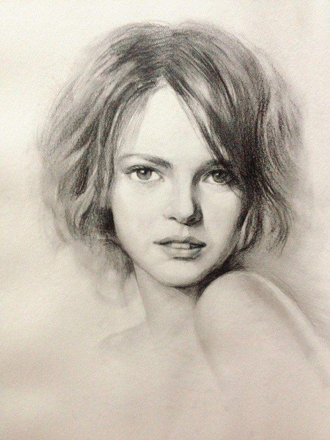 Un peu différent, dessin à la mine, le dessin représente une jeune femme nous regardant dans les yeux,  cette femme au cheveux cour n'a pas couleurs, nez fin, face parfaite, ont dirais une stéréotype d'une fille parfaite dans les siècles 20. L'oeuvre ne m'inspire pas vraiment mais je voulais changer un peu de perspective, et aller vers une oeuvre que je ne serai réaliser!