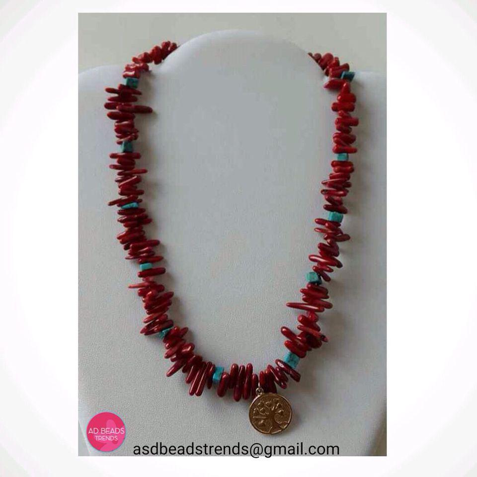 Otra match de #coralesconturqueza  Con un detallito de #ArboldeVida en medallita  #necklace #fashionnecklace #adbeadstrends #beads #trends #Panama #Pty #fashion #fashionista #mixandmatch #accesorios #complementos ❤
