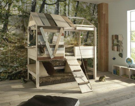 Treehouse Bed--awesome idea!! I'm going to start looking at used furniture places for an old bunk bed! Thise site has a few designs for bunkbed treehouses!