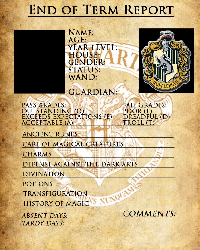 Slytherin Hogwarts ID Ravenclawlink Gryffindorlink Hufflepuff - report card template