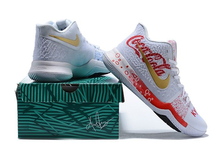 "low priced a919a 63845 Cheap Nike Kyrie 3 ""Coca-Cola"" Custom White Red Blue For Sale"