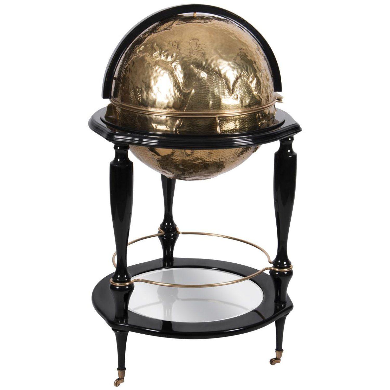 Equator Globe Bar In Black With Hand Carved Brass Exclusive Furniture Spring Interior Design Industrial Design Furniture