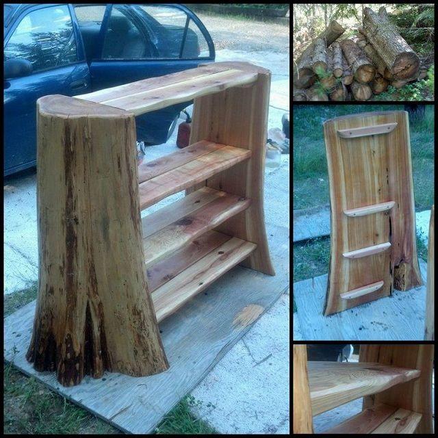 Log Projects: Rustic Log Bookshelf