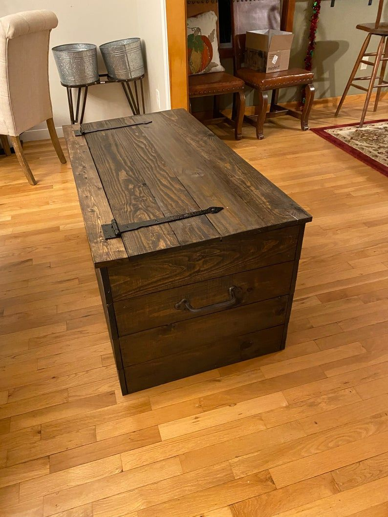 Farmhouse wooden chest rustic stained trunk free shipping
