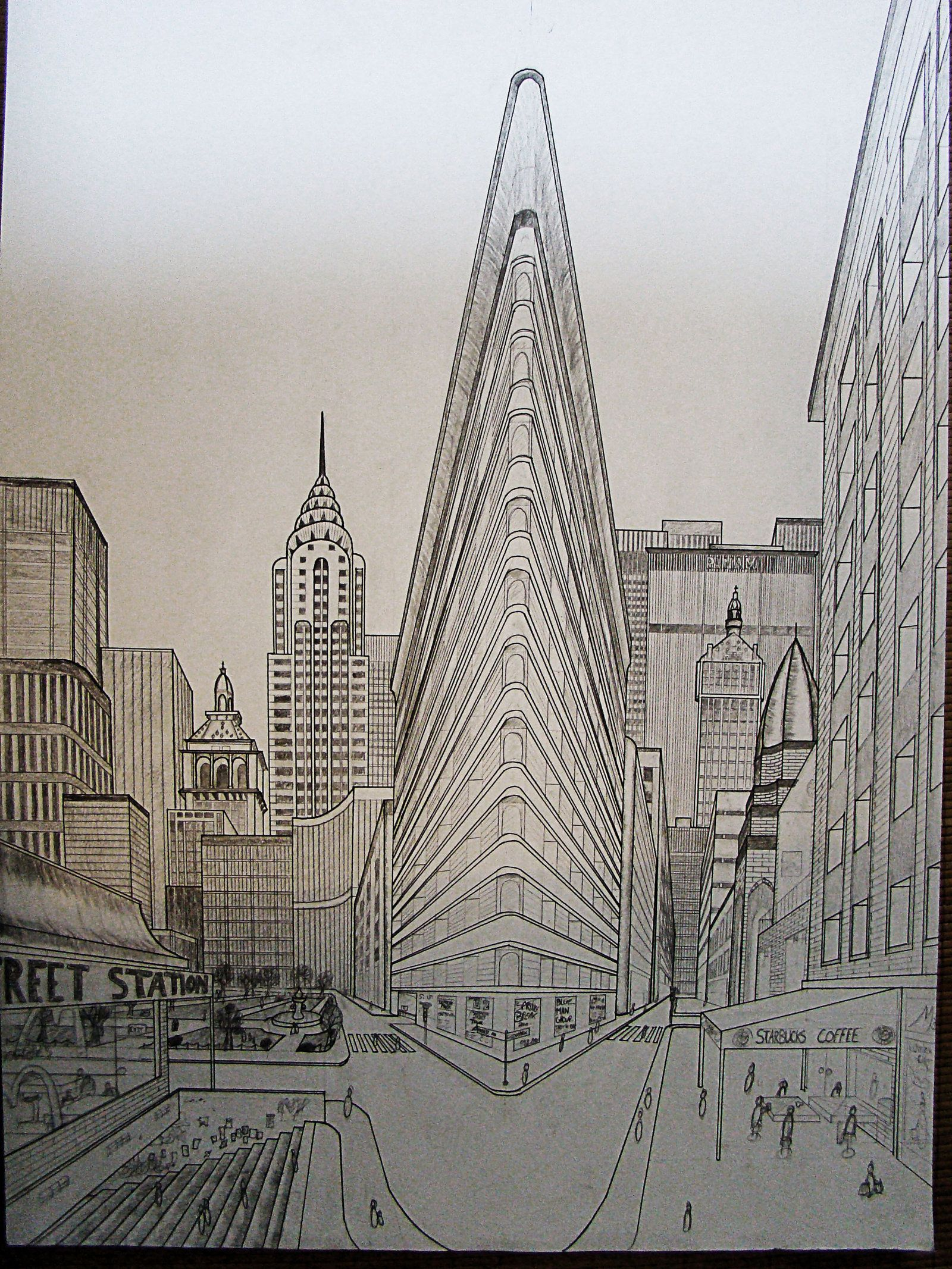 Double Perspective Drawing Ny By Nilsgermain On
