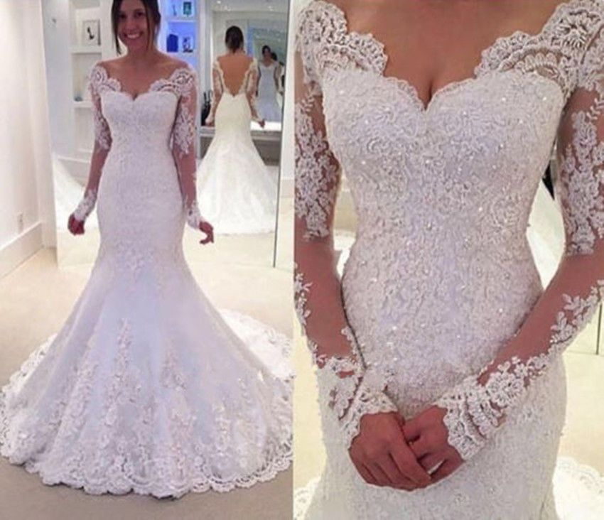 New White/Ivory Mermaid Lace Bridal Gown Long Sleeves Wedding ...