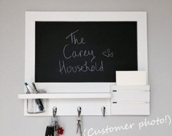 Chalkboard And Cork Board Noticeboard Mail Organiser In Grey Pre Order Made To Order Porta Chaves