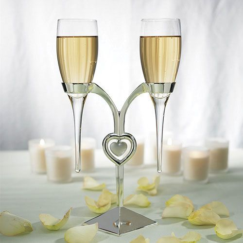 Toasting Flutes with Silver Stand - AnniGifts.com