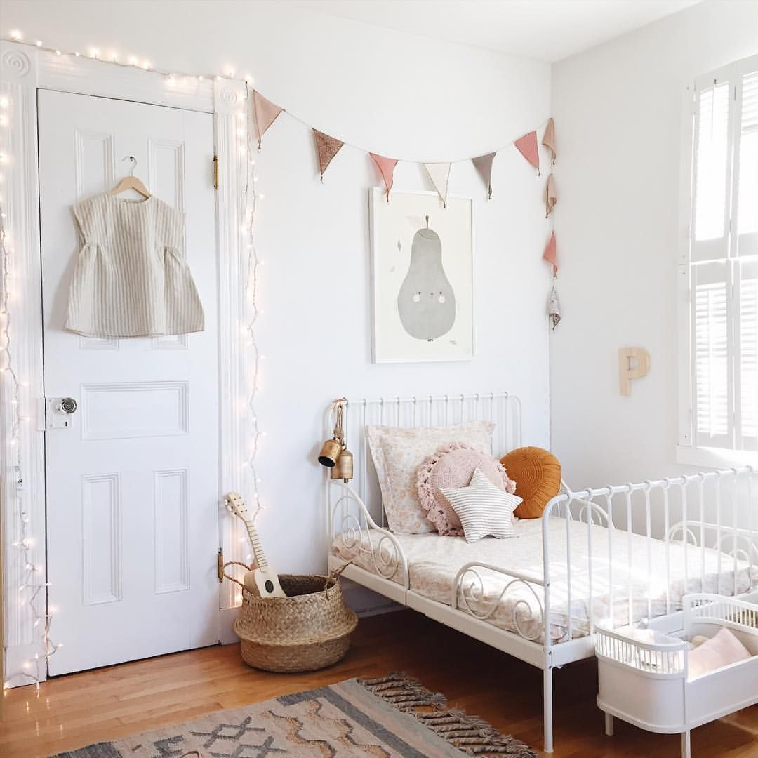 Toddler Room White Metal Ikea Bed Bunting In Soft Colors Girl