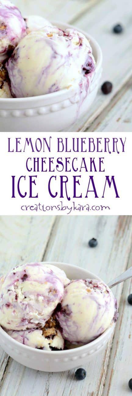 Lemon Blueberry Cheesecake Ice Cream #cheesecakeicecream