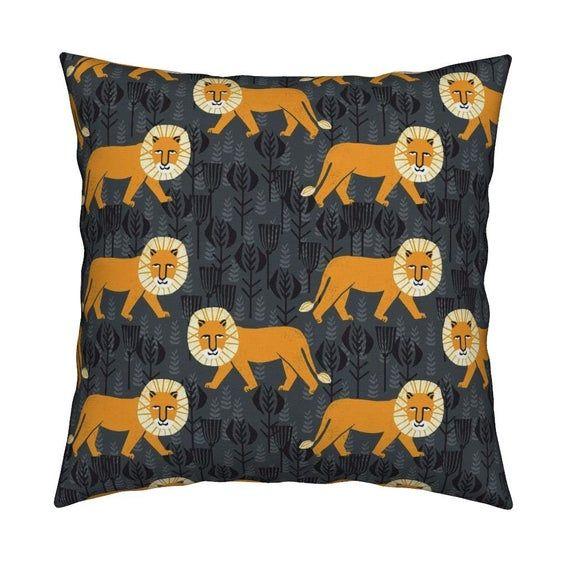 Orange Lion Throw Pillow - Lion On Turmericcharcoal by andrea_lauren - Orange Grey Safari 18