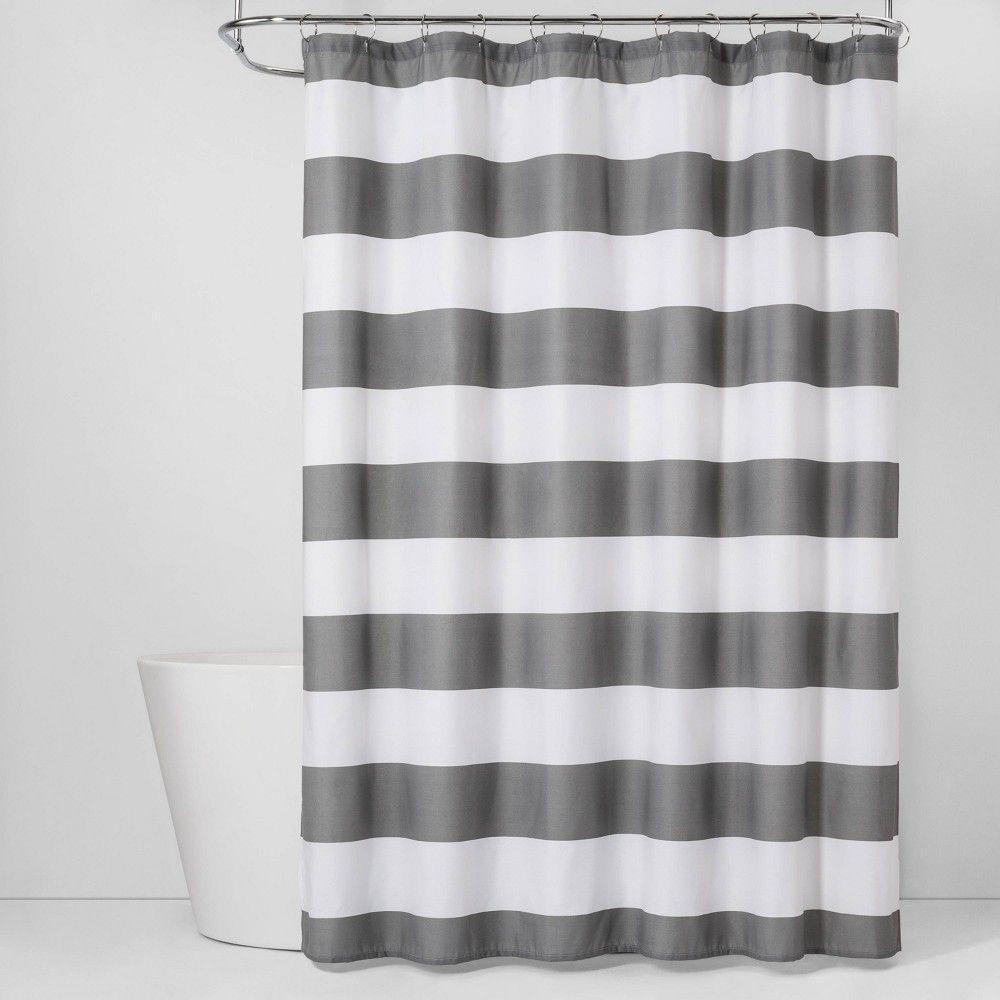 Stripe Cvc Shower Curtain Gray Mist Room Essentials Gray White