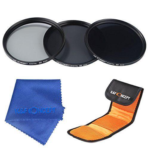 K&F Concept 77mm Neutral Density Filter Set ND2 ND4 ND8 Kit for Canon 6D 5D Mark II 5D Mark III for Nikon D610 D700 D800 DSLR Cameras + Microfiber Lens Cleaning Cloth + 3 Slot Filter Pouch - http://kameras-kaufen.de/k-f-concept/77mm-k-f-concept-67mm-slim-objektiv-nd-filter-set-18