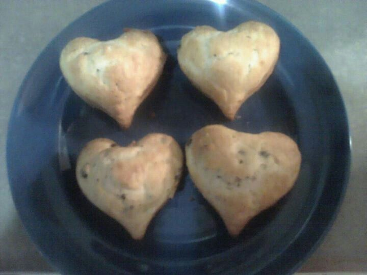 Heart shaped chocolate chip muffins valentines day