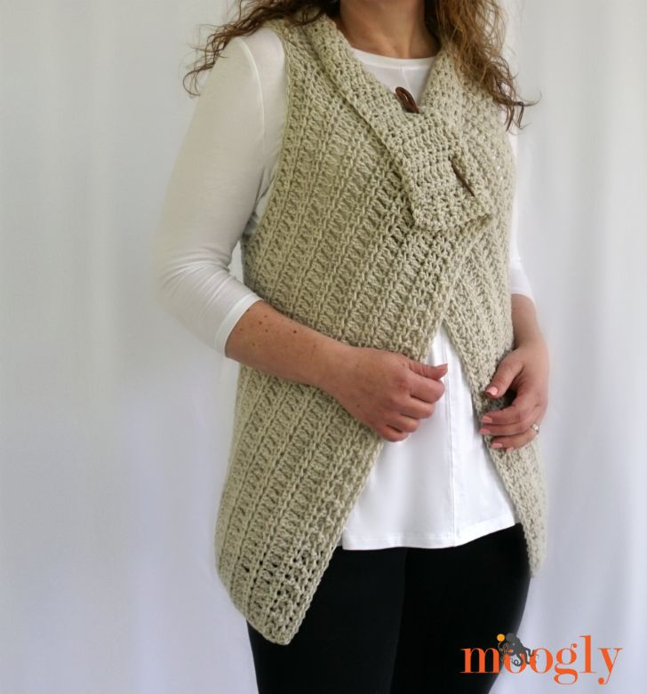 Simple Waterfall Vest Free Crochet Pattern In 4 Sizes Small To 5x