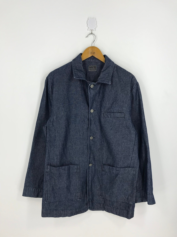 Denim Workers Stripes Hickory Jeans Jacket Size Large Vintage 90/'s Workwear Herringbone Twill Denim Blue Labour Jacket Button Size L