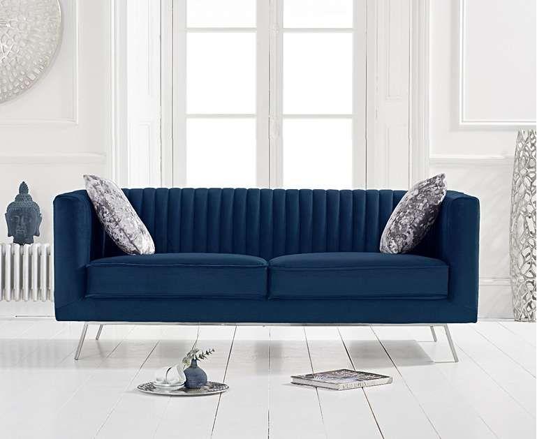Danube Blue Velvet 2 Seater Sofa In 2020 Seater Sofa Oak Furniture Superstore 2 Seater Sofa